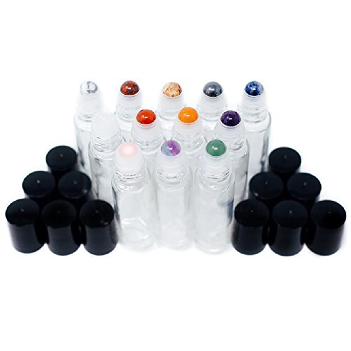 快いラウンジバンGemstone Essential Oil Roller Bottles + Tops | Set of 12 Natural Crystals + Precious Stones | Gemstone Roller Balls | Unique Properties for Each Gemstone | Luxe Gift | Black Tops + 10ml Glass Bottles [並行輸入品]
