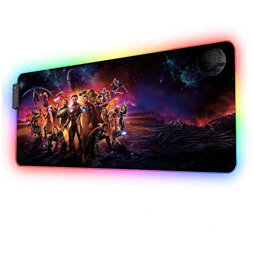 RGB Gaming Mouse Pad Avengers,Led Soft Extra Extended Large Mousepad with 12 Lighting Modes 2 Brightness Levels,Anti-Slip Rubber Base,Oversized Glowing Computer Keyboard Laptop Mouse Mat 35.4x15.7