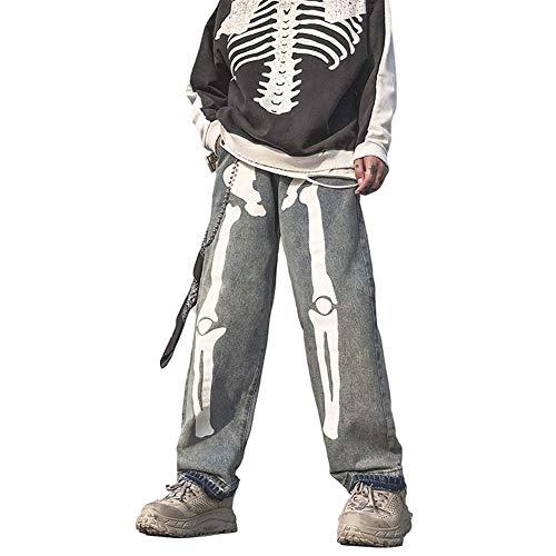 WBNCUAP Hombres Esqueleto Pantalones de Jeans Negros de Gran tamaño Denim Mens Streetwear Hip Hop Harem Pantalones High Wasit Wasit Denim Pantalones Monos (Color : Grey, Size : Medium)