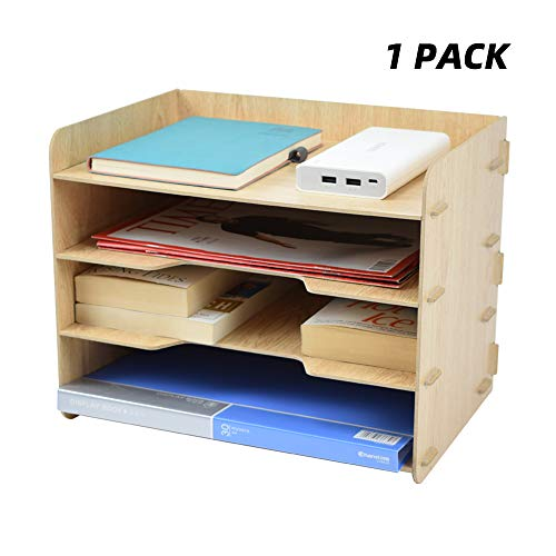 TWOHANDS Letter Tray & Stacking Supports - Paper Tray - 4 Tier Desk File Organizer and Storage for Students - School & Office Supplies - File Holder for Desktop - A4 Paper Rack(1 Pack) Desk Tray Stacking Support