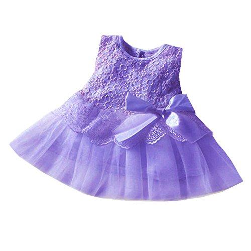 Yimidear ベビードレス 子供ドレス ガールズ チュールスカート 赤ちゃん 洋服 ワンピース 可愛い リボン 発表会 結婚式 入園式 誕生日 クリスマス パーティー フォーマルドレス(長さ:39CM, パープル)