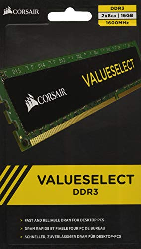 Corsair CMV16GX3M2A1600C11 Value Select 16GB (2x8GB) DDR3 1600 Mhz CL11 Standard Desktop Memory