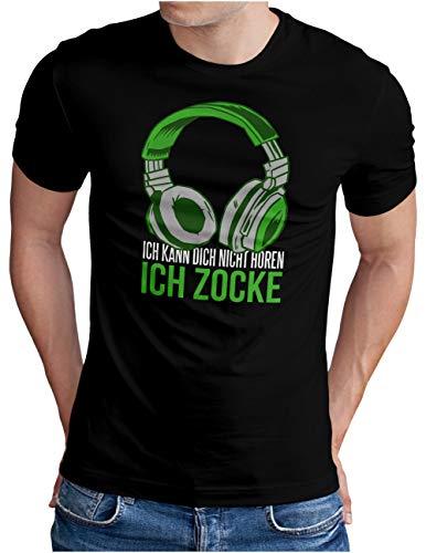 OM3® Gamer-ICH-ZOCKE T-Shirt | Herren | Video Game Console Gaming Headset | Schwarz, XL