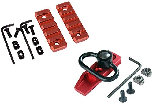 GOTICAL Combo 5 Slots MLOK Picatinny Rail Section for M Lok Handguard Accessories Mlok Rail Red & Alloy Red Mlok Modular Direct Attachment M-lok Quick Detach QD Sliing Swivel Mount Kit-Push Button
