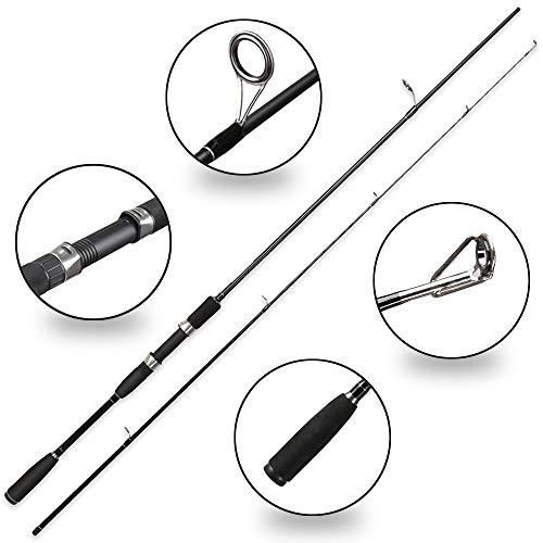NO LOGO CCH-HAIGAN, 50-300g Test Schnelle Aktion 2.1m Spinnrute für leichte Jigging Forellenruten Mit Solider Spitze 2 Abschnitte Carbonstange (Color : Black, Size : 2.1 m)