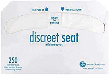 White 3000 Covers Hospeco hjkjhl Discreet Seat DS-1000 Half-Fold Toilet Seat Covers