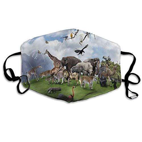 HUIDE Protector facial transpirable para el polvo, collage de animales en el valle con Lion Parrot Swans Elephants S, decoración facial.