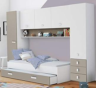 Miroytengo Pack Dormitorio Puente Infantil Juvenil Tidy Color Blanco y Arcilla habitación Moderno (Armario + Cama + cajón)