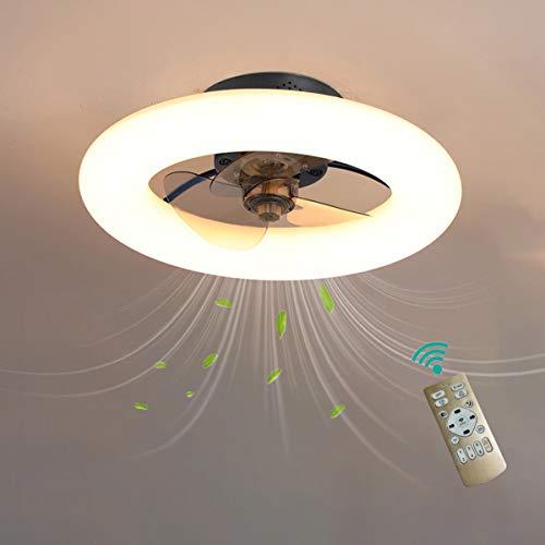 YAOXI Led Dormitorio Ventilador de Techo con Luz y Mando Silencioso Modernos 6 Velocidades Reversible 50cm Ventilador de Techo con Luz y Temporizador Regulable,Negro