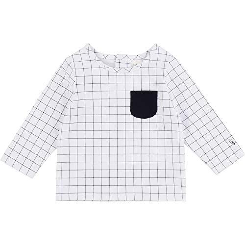 CARREMENT BEAU T-Shirt en Coton à Carreaux Bebe Couche Blanc 3MOIS