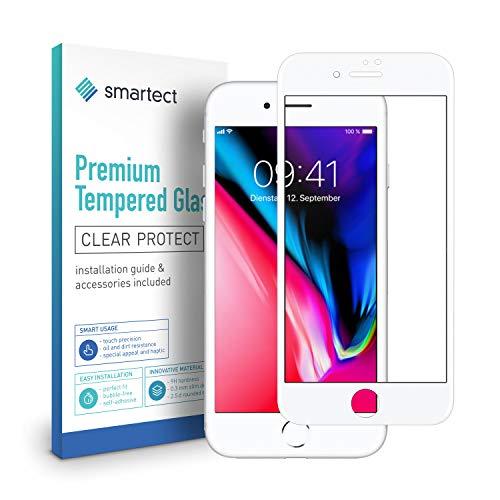 smartect Full Screen Beschermglas compatibel met Apple iPhone 8 Plus / 7 Plus / 6 Plus [3D Curved] - screen protector met 9H hardheid - bubbelvrije beschermlaag - antivingerafdruk kogelvrije glasfolie