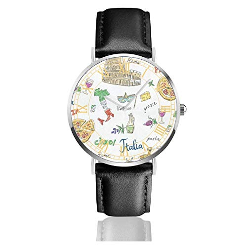 Herrenuhr Roman Pizza Pasta Lederband Armbanduhr Silvery Watchcase Ultradünne einfache Quarzuhren
