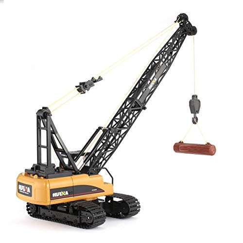 Kongqiabona HUINA 1572 15ch RC Alloy Crane 1/14 2.4GHz Engineering Movable Latticed Boom Hook Mechanical Truck Toy Car with Sound Light