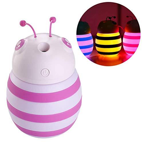 H/L weinig honing-bier-led-nachtlampje, mute-spray, USB 7 kleuren, tafellamp met 300 ml luchtbevochtiger diffuser-functie, voor auto-slaapkamer en kantoor, mini draagbaar en geen straling