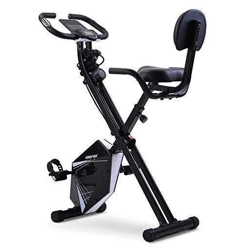 Merax Cycling Bike X-Bike,einzigartiges Zugbandsystem Handpulssensoren Ergometer Hometrainer- Faltbares Fitness Fahrrad-Tablethalterung Rückenlehne klappbar (Schwarz-Weiß)