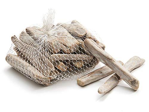 NaDeco Treibholz weiß im Netz mit 0,5kg Deko Holz Schwemmholz Treibholz zum Basteln Deko Treibholz Dekoholz