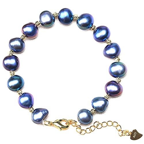 バロックパール 天然真珠 9-10mm ナチュラルマルチ 可愛い baby ベビーパール 淡水 ブレスレット 個性的な形の真珠 パーティーに最高 プレゼント 925 ゴールド ギフトラッピング