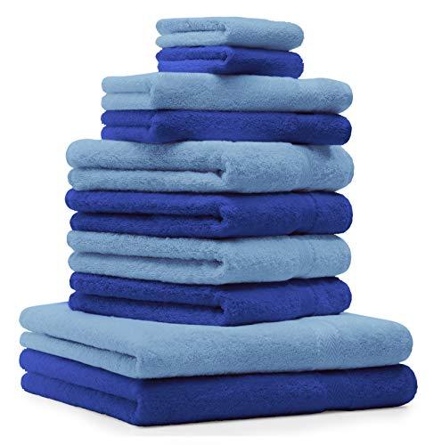 Betz 10-TLG. Handtuch-Set Premium 100{af8e24f22e0011d1943831424c05cfedb4d1b2a8e54b8cf16589648193157d88} Baumwolle 2 Duschtücher 4 Handtücher 2 Gästetücher 2 Waschhandschuhe Farbe Royal Blau & Hell Blau