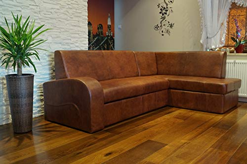 Quattro Meble Hoekbank Antalya 2 Extra 245 x 164cm (hoek rechts) sofa bank met bedfunctie en bedkast echt leer hoekbank