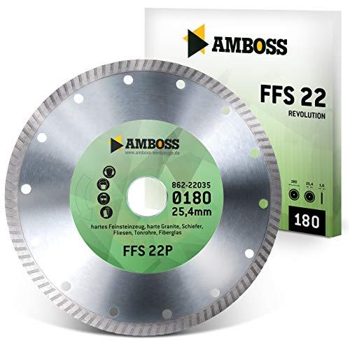 Amboss FFS 22 - Diamant-Trennscheibe Ø 180 mm x 25,4 mm - Hartes Feinsteinzeug (bis 1,2 cm) / harte Granite/Schiefer/Fliesen/Tonrohre/Fiberglas | Segmenthöhe: 7 mm