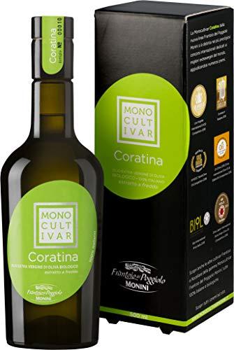 Monini Olio Extra Vergine di Oliva Monocultivar Coratina, Gusto Vegetale, con Amarezza e Piccantezza Intense - Pacco da 3 x 500 ml