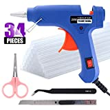Swpeet 34Pcs Mini 20W Hot Glue Gun Kit, Including 30Pcs Glue Sticks Removable Anti-hot Cover Glue Gun Kit with Flexible Trigger for DIY Small Craft Projects & Sealing and Quick Daily Repairs