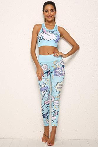 FDSHOSFH - Ropa de yoga para mujer, ropa de deporte, ropa de fitness, sujetador y medias estampadas, azul, S