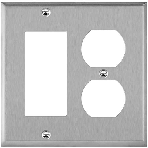 ENERLITES Combination Duplex Receptacle Outlet or Decorator Light Switch Metal Wall Plate, Corrosive Resistant, Size 2-Gang 4.50
