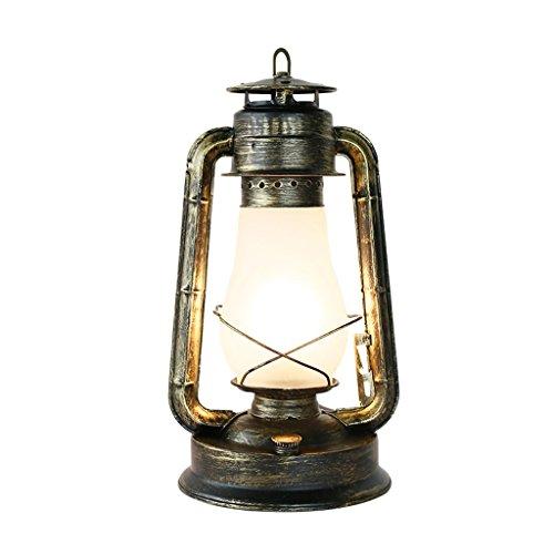 JXXDQ-Lampe de Table Lampe Lanterne rétro, Lampe de Table en Fer forgé, Abat-Jour en Verre