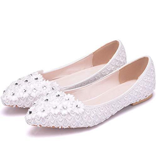YIZHIYA Zapatos de Novia de Mujer,Zapatos de Boda de Punta Estrecha con Diamantes de imitación de Flores de Encaje de Gasa,Zapatos de Cristal Zapatos de Dama de Honor Sandalias,Blanco,37 EU