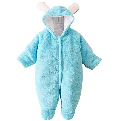 Topsale-ycld Pasgeboren Baby Leuke Beer Oor Jumpsuit Koraal Fleece Warm Hooded Romper Outfits 0-12 Maand 95 Blauw