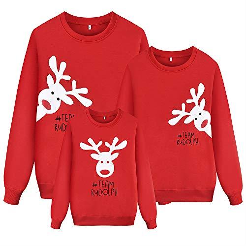 LOOVEE Maglione Natalizio Famiglia, Felpe Natale Famiglia Coordinati 3D Alce di Natale Autunno Inverno Divertenti Maglione Girocollo a Manica Lunga Pullover per Donna Uomo Bambini Coppia (7,Mamma_M)