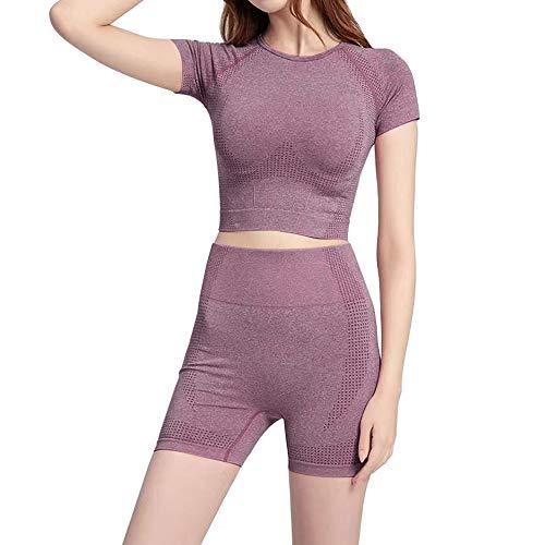Litthing Femme Ensembles Sportswear 2 Pièces T-Shirt à Manches Courtes et Short Costumes de Sport Eté Course Gym Fitness Jogging Survêtement (Vine Set, S)