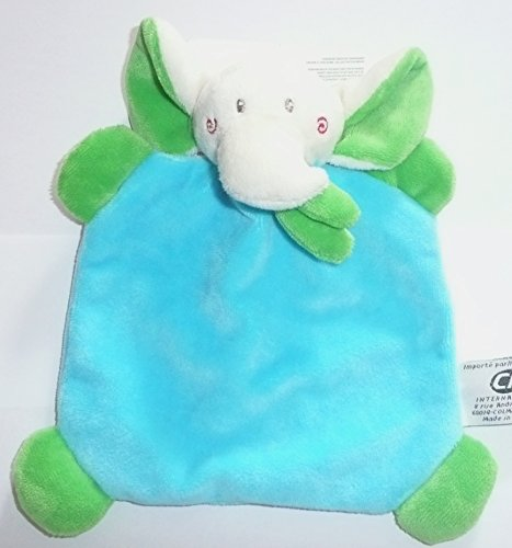 CP INTERNATIONAL Malice et Bulle - Peluches et Doudous - Doudou Plat éléphant Bleu Turquoise écharpe Verte 18 x 18 cm bébé garçon