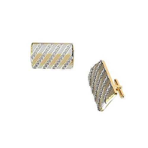 JewelsForum 0,37 Ct Weißer Diamant 9 Karat Massives Gold Manschettenknöpfe Herren Designer Manschettenknöpfe Streifenmuster Art Deco Manschettenknöpfe Bullet-Back (Gelbgold)