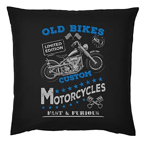 Mega-shirt Biker motief kussen met vulling Oud Bikes Custom Motorcycles Fast & Furious Bike Bikemtive Bekleding Bikermotieven