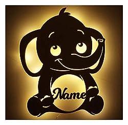 #A016 LED Holz Elefant mit Namen zum Geburtstag Geburt Taufe für Babys Mädchen Junge Erwachsene