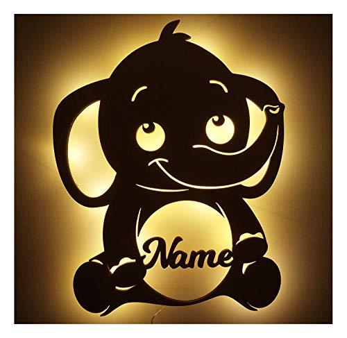 Schlummerlicht Nachtlicht LED Lampe Holz Elefant mit Namen zum Geburtstag Geburt Taufe für Babys Mädchen Junge Erwachsene