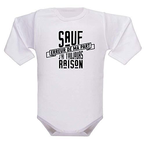 bodybebepersonnalise.fr Body enfant, bodies manches longues, vêtement bébé, cadeau de naissance, extra doux, humour, texte marrant - blanc, 3-6 mois