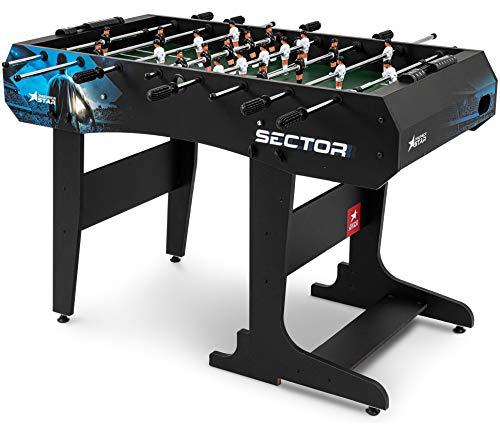 Hop-Sport Kickertisch Sector – klappbarer Tichfußball für Kinder und Erwachsene – Tischkicker inkl. 3 Bälle mit Fußballspieler-Motiv