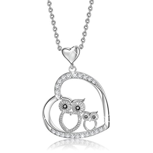 Mom Baby Owl 925 Sterling Silver Crystal Owl Lover Bird Pendant Necklace 18' (Owl Necklace1)