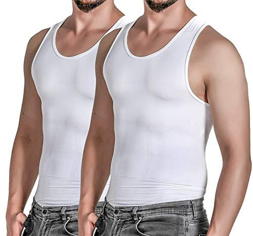 Meritti 2 Mens Compression Shirt Tank Top, Slimming Body Shaper Vest Undershirt, White, X-Large White