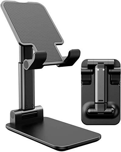 Suporte de celular, suporte de mesa portátil ajustável, suporte de telefone dobrável para acessórios de home office compatíveis com todos os celulares/iPad/Kindle/Tablet, Preto
