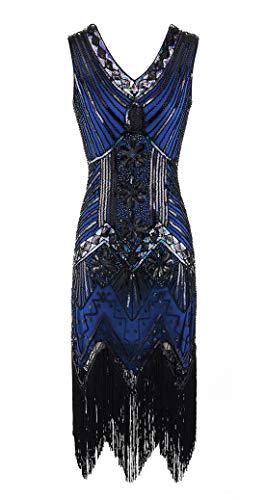 Viloree Vestido retro de los años 20 para mujer, con lentejuelas y cuello en V, ideal para fiestas temáticas del Gran Gatsby azul XL