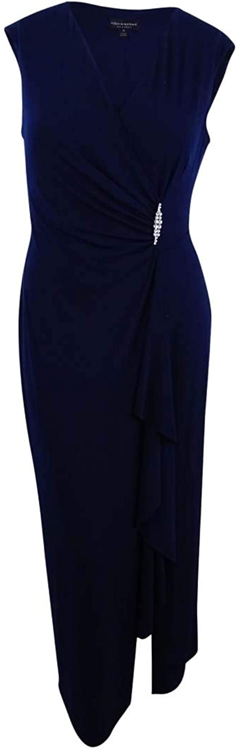 Connected Apparel Womens Embellished Ruched Evening Dress