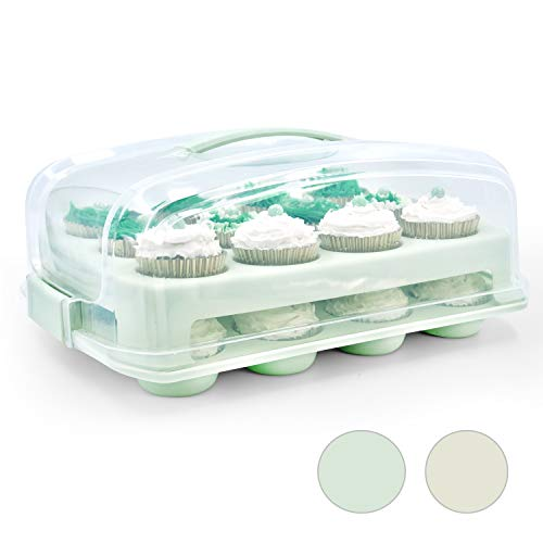Top Shelf Elements Cupcake Carrier, Fashionable Seafoam Green Holder Carries 24 Gourmet Cupcakes, Durable Traveler Airtight Storage