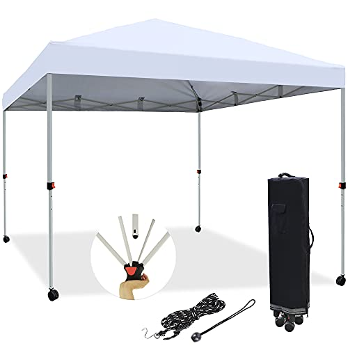 Blissun 10' x 10' Pop Up Canopy Tent, Instant Shelter Canopy, Outdoor Portable Folding Canopy with 4 Wheels and Carry Bag, White