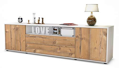 Stil.Zeit TV Schrank Lowboard Armanda, Korpus in Weiss matt/Front im Holz-Design Pinie (180x49x35cm), mit Push-to-Open Technik und hochwertigen Leichtlaufschienen, Made in Germany
