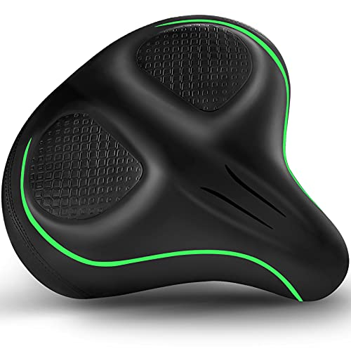 Xmifer Oversized Bike Seat - Comfortable Bicycle Saddle, Middle Groove Design, 2.95' Thick Memory Foam, Universal Fit Indoor Outdoor Peloton, Exercise or Road Bikes Green