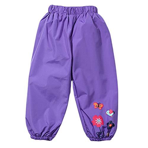 LvRao Mädchen Kinder Blumen Regenjacke Winddichte Jacke oder Hose Mantel mit Kapuze Outdoor Hosen (Lila Hose, 110)